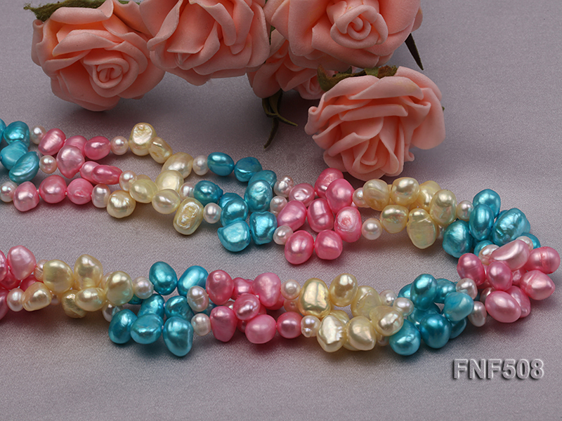 Three-strand 7-8mm Blue, Pink and Light-yellow Freshwater Pearl Necklace big Image 3