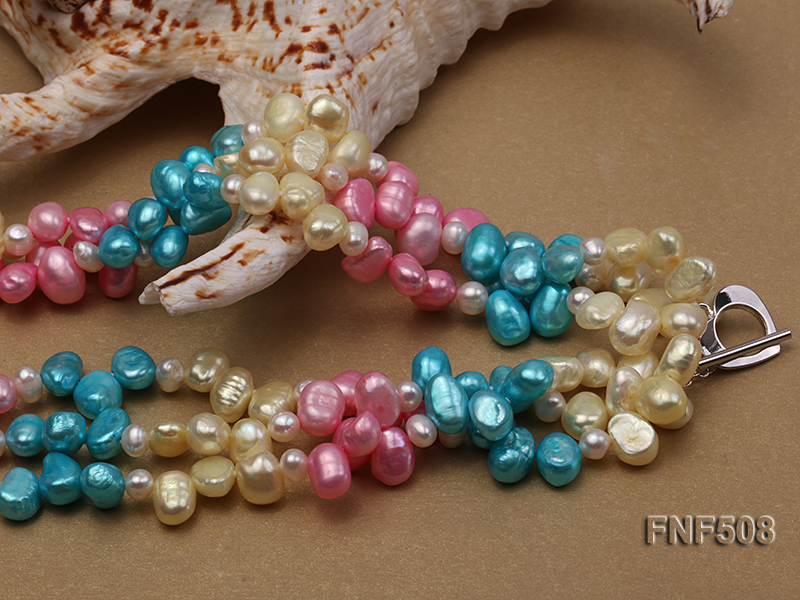 Three-strand 7-8mm Blue, Pink and Light-yellow Freshwater Pearl Necklace big Image 4