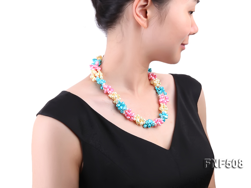 Three-strand 7-8mm Blue, Pink and Light-yellow Freshwater Pearl Necklace big Image 5