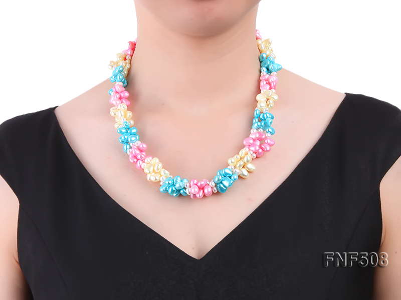 Three-strand 7-8mm Blue, Pink and Light-yellow Freshwater Pearl Necklace big Image 6