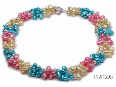 Three-strand 7-8mm Blue, Pink and Light-yellow Freshwater Pearl Necklace FNF508 Image 1