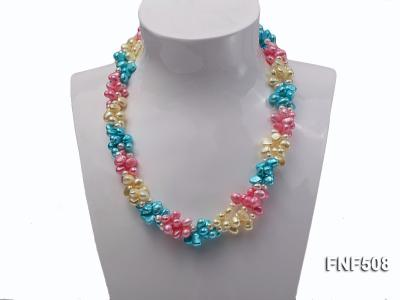 Three-strand 7-8mm Blue, Pink and Light-yellow Freshwater Pearl Necklace FNF508 Image 2