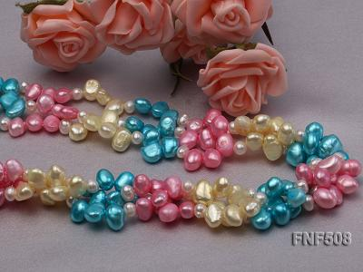 Three-strand 7-8mm Blue, Pink and Light-yellow Freshwater Pearl Necklace FNF508 Image 3