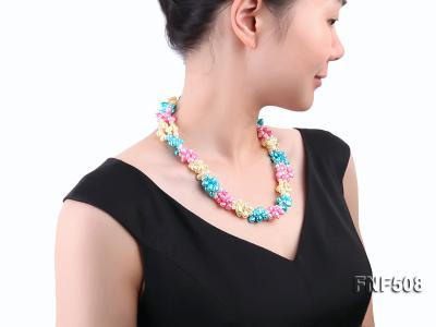 Three-strand 7-8mm Blue, Pink and Light-yellow Freshwater Pearl Necklace FNF508 Image 5
