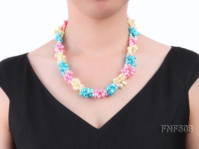 Three-strand 7-8mm Blue, Pink and Light-yellow Freshwater Pearl Necklace FNF508 Image 6