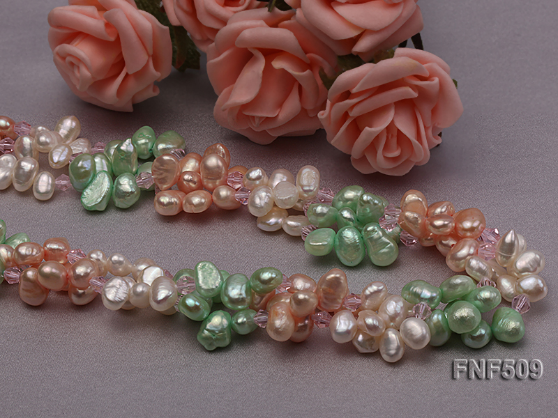 Three-strand 7-8mm White, Pink and Green Freshwater Pearl Necklace big Image 2