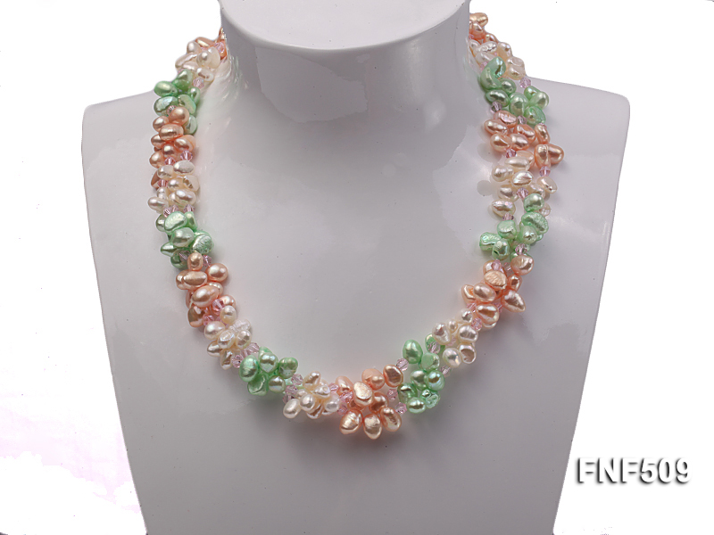 Three-strand 7-8mm White, Pink and Green Freshwater Pearl Necklace big Image 3