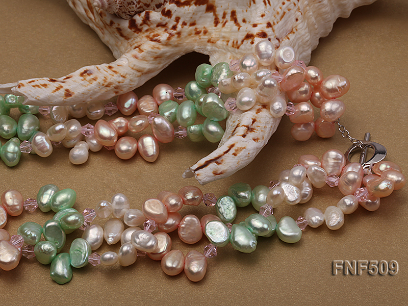 Three-strand 7-8mm White, Pink and Green Freshwater Pearl Necklace big Image 4