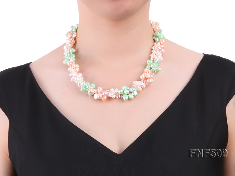 Three-strand 7-8mm White, Pink and Green Freshwater Pearl Necklace big Image 5