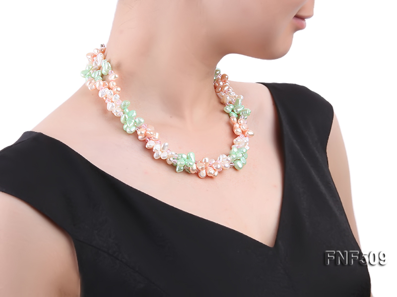Three-strand 7-8mm White, Pink and Green Freshwater Pearl Necklace big Image 6