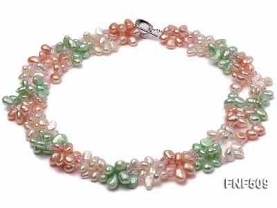 Three-strand 7-8mm White, Pink and Green Freshwater Pearl Necklace FNF509 Image 1