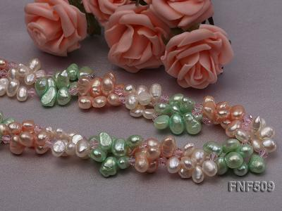Three-strand 7-8mm White, Pink and Green Freshwater Pearl Necklace FNF509 Image 2