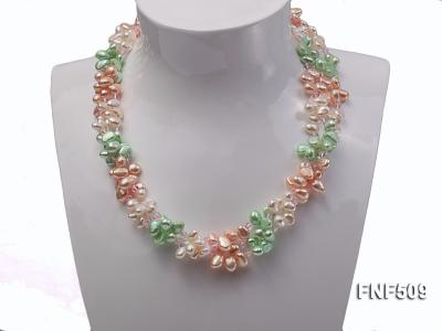 Three-strand 7-8mm White, Pink and Green Freshwater Pearl Necklace FNF509 Image 3