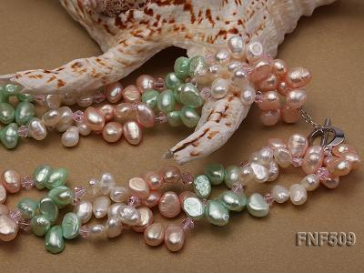 Three-strand 7-8mm White, Pink and Green Freshwater Pearl Necklace FNF509 Image 4