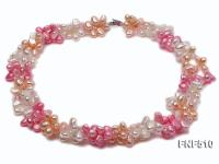 Three-strand 7-8mm White, Pink and Dark-pink Freshwater Pearl Necklace FNF510