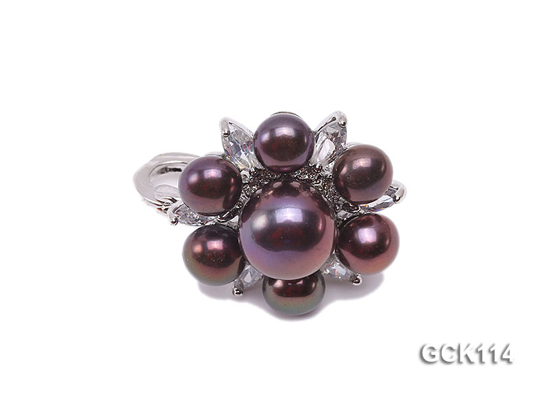 25mm Flower-shaped Gilded Magnetic Clasp with 6-10mm Black Pearl  big Image 1