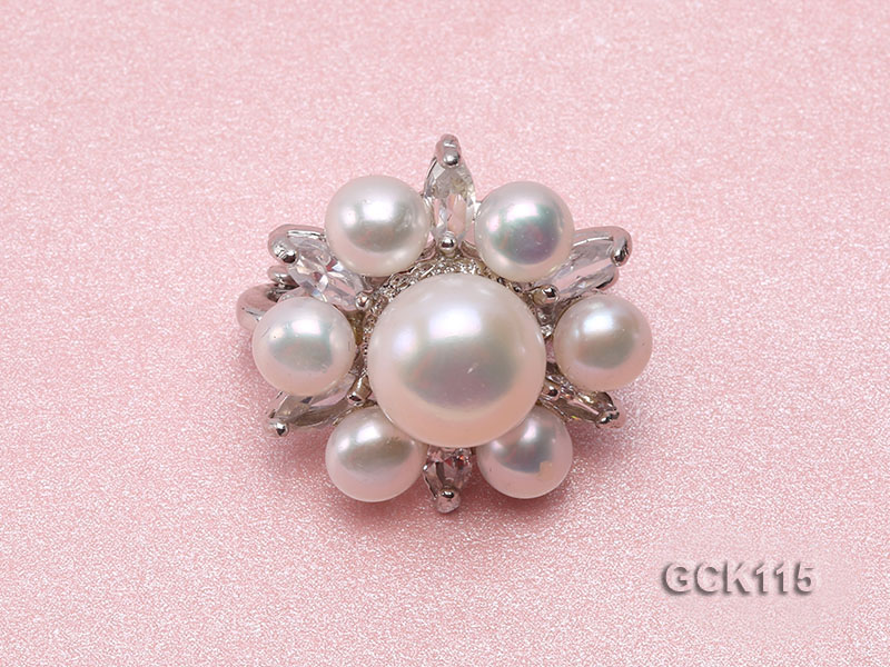 25mm Flower-shaped Gilded Magnetic Clasp with 6-10mm White Pearl  big Image 2