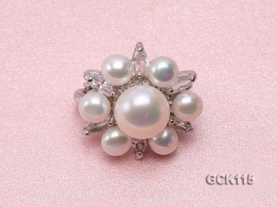 25mm Flower-shaped Gilded Magnetic Clasp with 6-10mm White Pearl  GCK115 Image 2