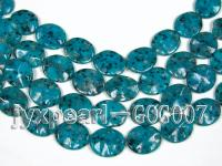 Wholesale 25x30mm Peacock Blue Oval Stone String GOG007
