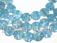 Wholesale 30mm Light Blue Disc-shaped Stone String GOG016