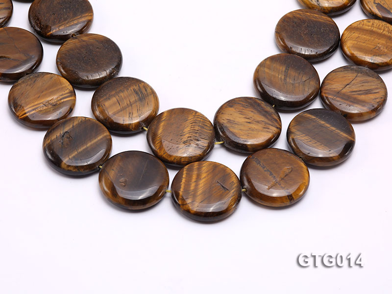 Wholesale 30mm Round Tigereye Pieces Strings big Image 1