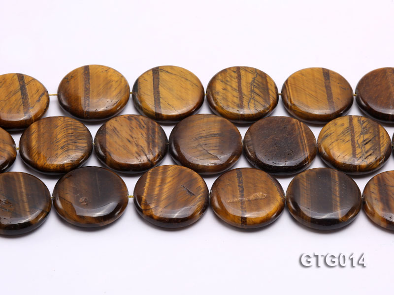 Wholesale 30mm Round Tigereye Pieces Strings big Image 2