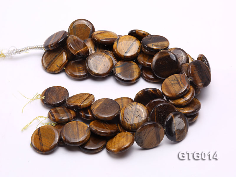 Wholesale 30mm Round Tigereye Pieces Strings big Image 3