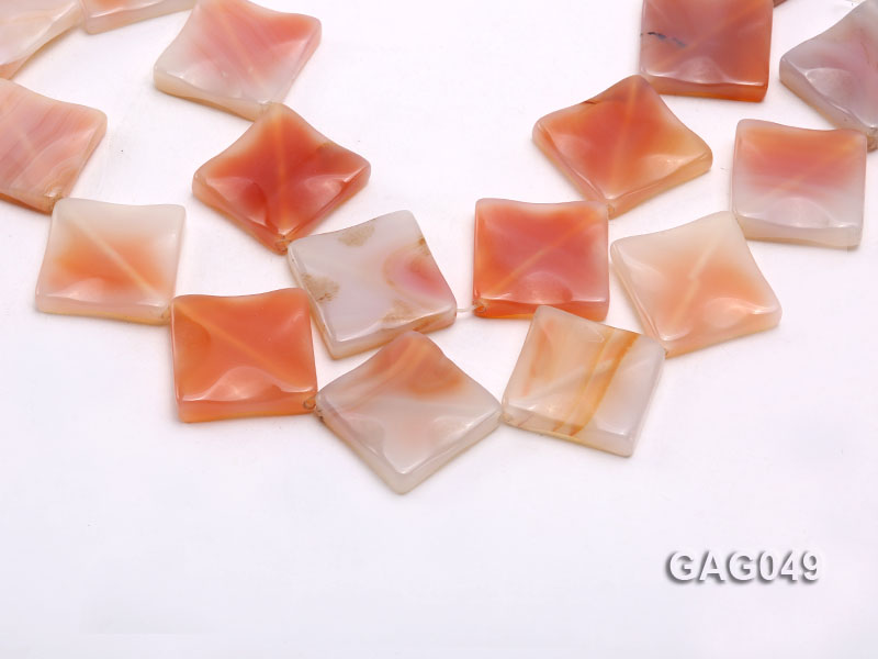 wholesale 30x30mm red flat square agate strings big Image 1