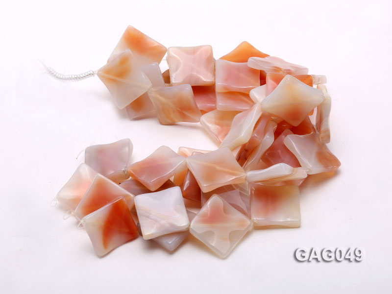 wholesale 30x30mm red flat square agate strings big Image 3