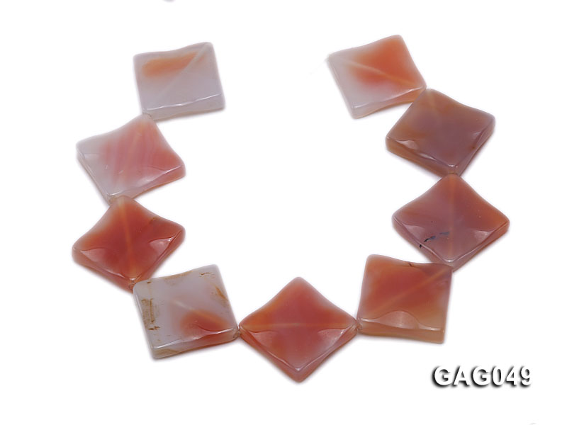 wholesale 30x30mm red flat square agate strings big Image 4