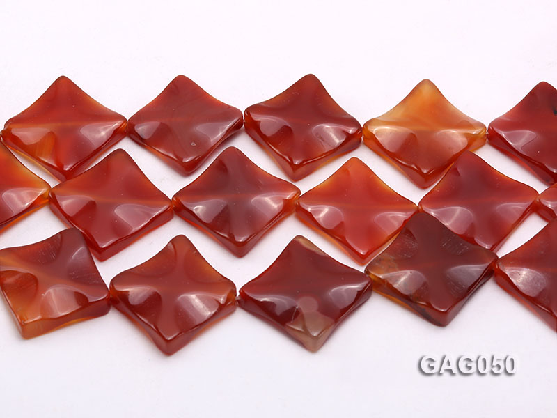 wholesale 25mm red flat square agate strings big Image 2