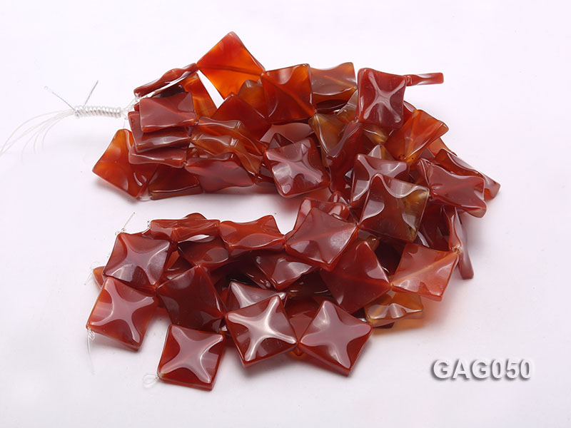 wholesale 25mm red flat square agate strings big Image 3