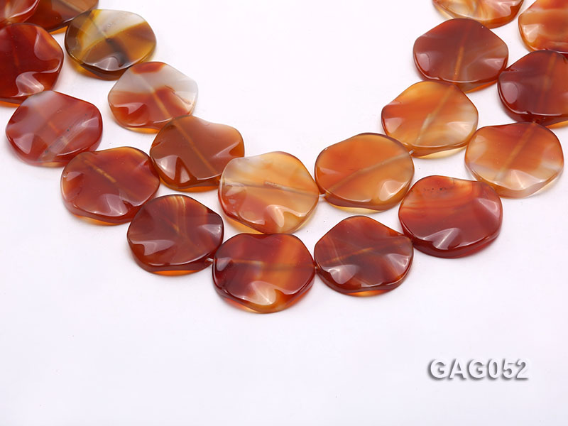 wholesale 35mm red flat round agate strings big Image 1