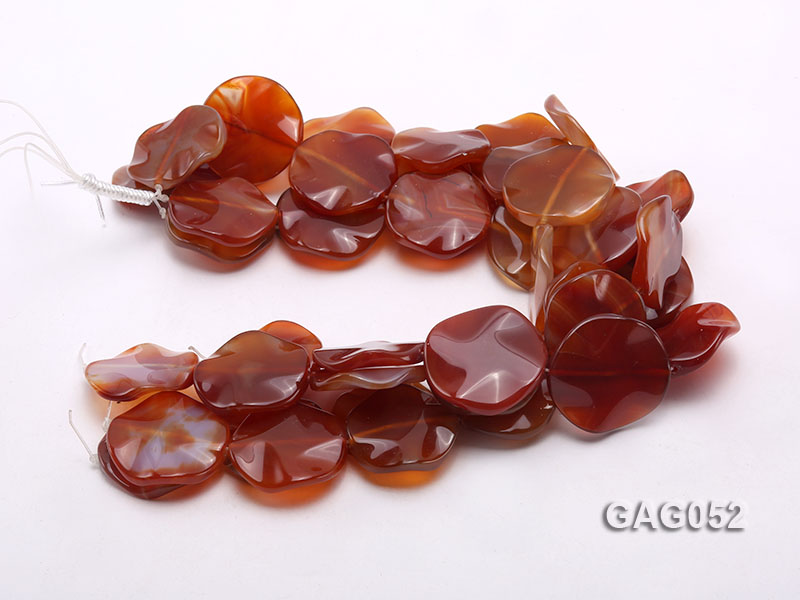 wholesale 35mm red flat round agate strings big Image 3