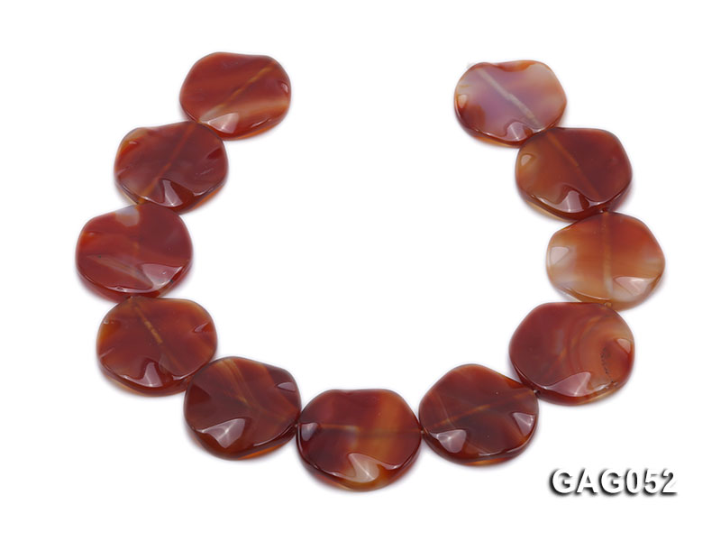 wholesale 35mm red flat round agate strings big Image 4