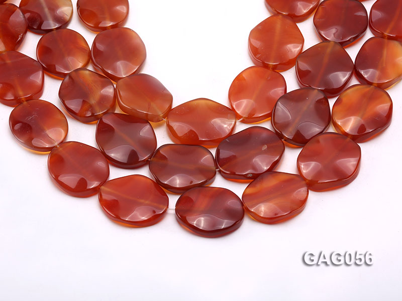 wholesale 25x30mm red oval agate piece strings big Image 1