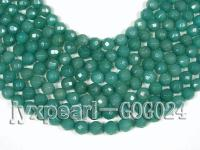 wholesale 10mm green faceted jade-like stone strings GOG024