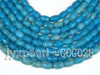 Wholesale 12x16mm Blue Carved Jade-like Stone String GOG028