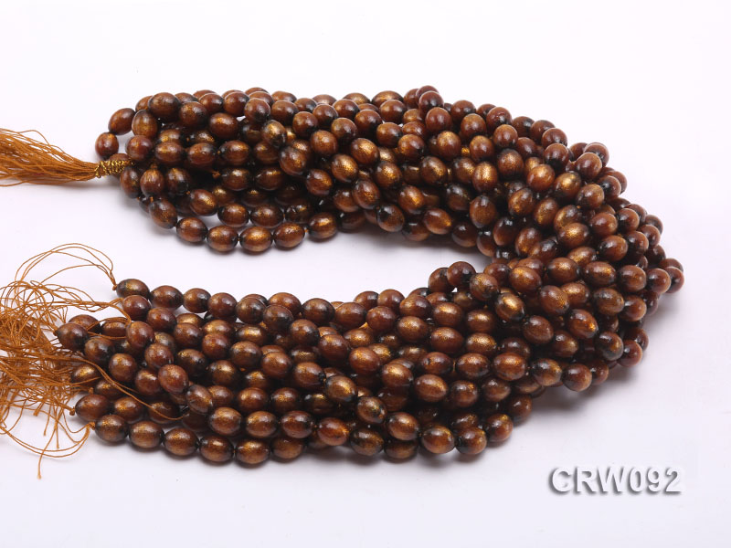Wholesale 9x12mm Oval Golden Coral Beads Loose String big Image 2