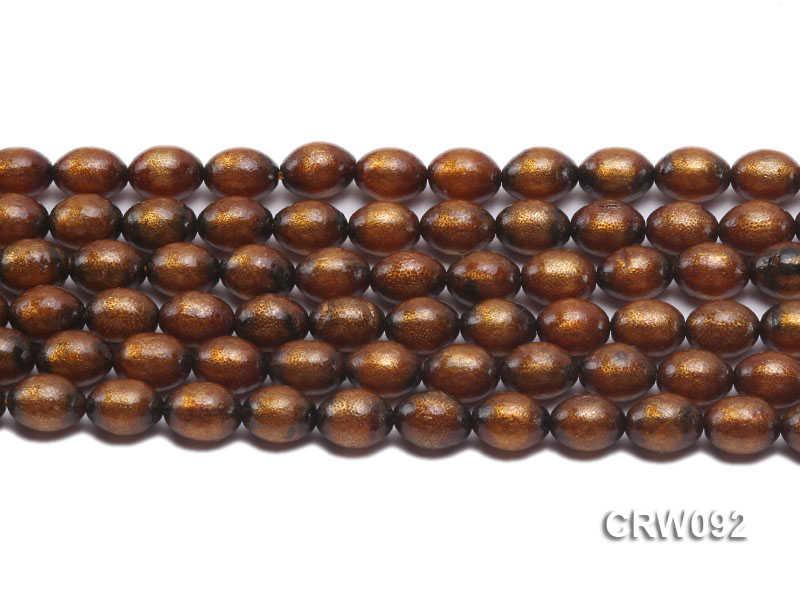 Wholesale 9x12mm Oval Golden Coral Beads Loose String big Image 3