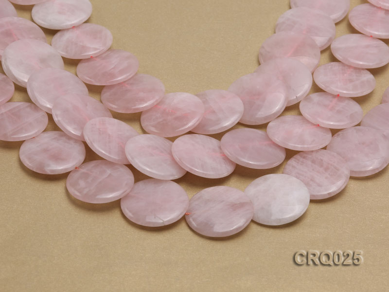 Wholesale 25mm Button-shaped Rose Quartz Beads String big Image 1