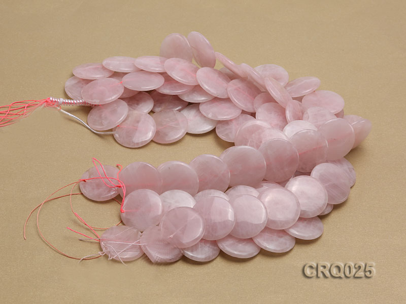 Wholesale 25mm Button-shaped Rose Quartz Beads String big Image 3