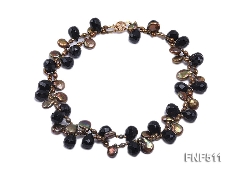 Two-strand Coffee Freshwater Pearl and Black Agate Beads Necklace big Image 1