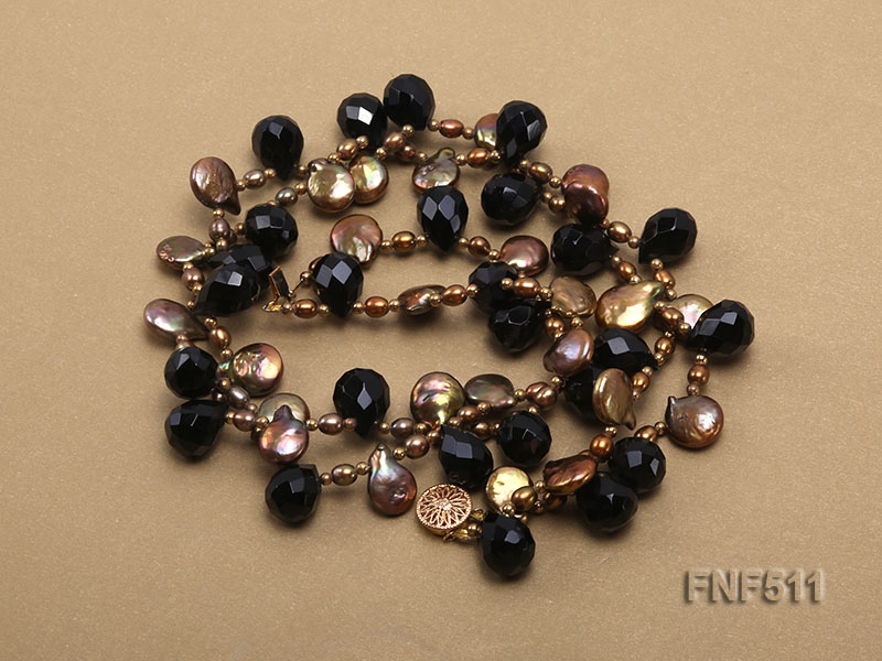 Two-strand Coffee Freshwater Pearl and Black Agate Beads Necklace big Image 3