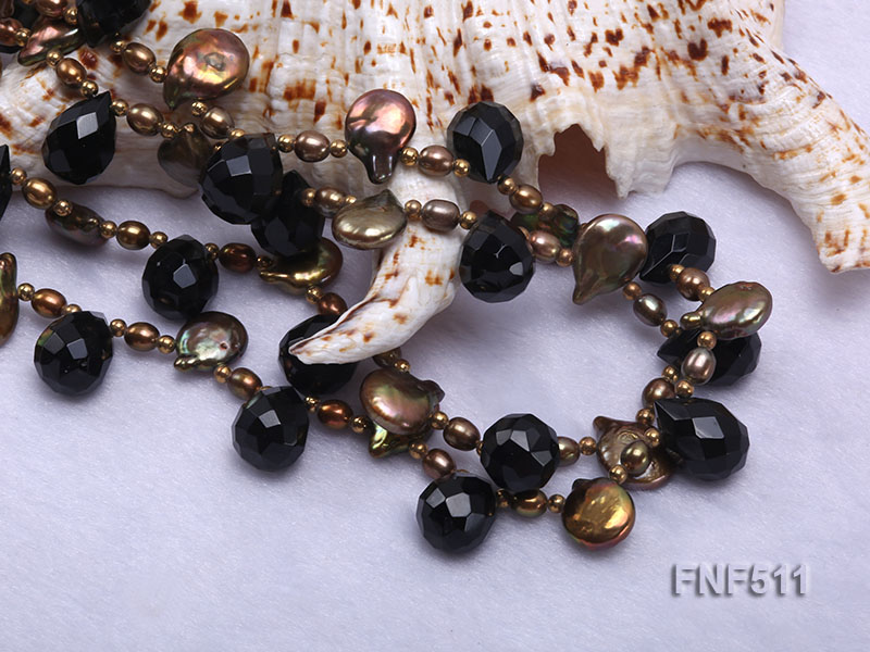 Two-strand Coffee Freshwater Pearl and Black Agate Beads Necklace big Image 4