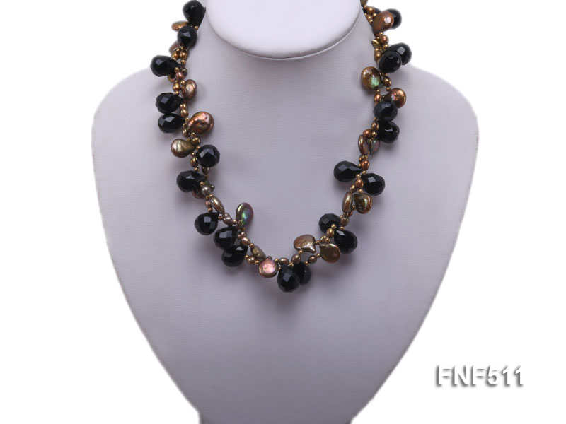 Two-strand Coffee Freshwater Pearl and Black Agate Beads Necklace big Image 5