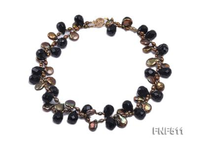 Two-strand Coffee Freshwater Pearl and Black Agate Beads Necklace FNF511 Image 1