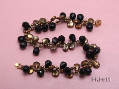 Two-strand Coffee Freshwater Pearl and Black Agate Beads Necklace FNF511 Image 2