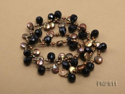 Two-strand Coffee Freshwater Pearl and Black Agate Beads Necklace FNF511 Image 3