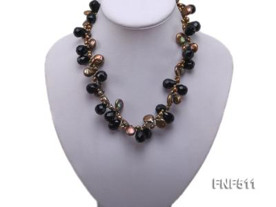 Two-strand Coffee Freshwater Pearl and Black Agate Beads Necklace FNF511 Image 5